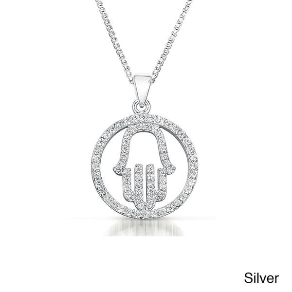 Sterling Silver Cubic Zirconia 'Hamsa' Circle Necklace