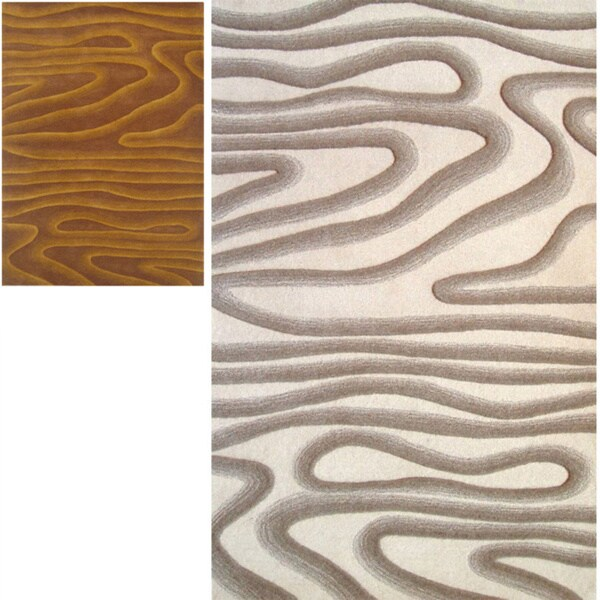 nuLOOM Handmade Swirls New Zealand Wool Rug