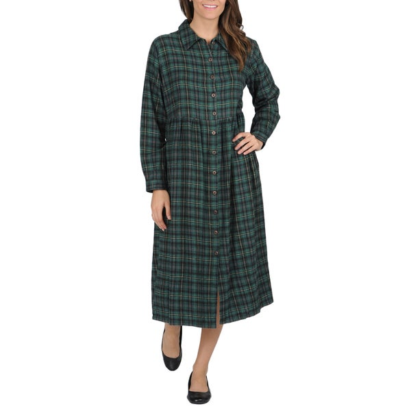 La Cera Women's Green Plaid Flannel Button-front Dress