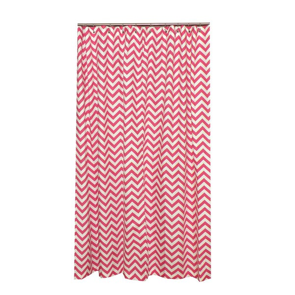 Chevron Designer Cotton Pink and White Shower Curtain