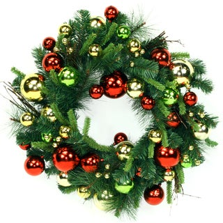 24-inch Green Holiday Ornaments Wreath