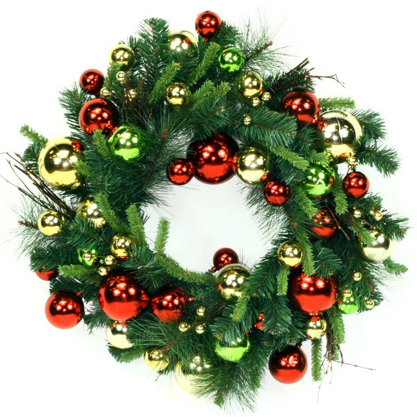 24-inch Green Holiday Ornaments Wreath