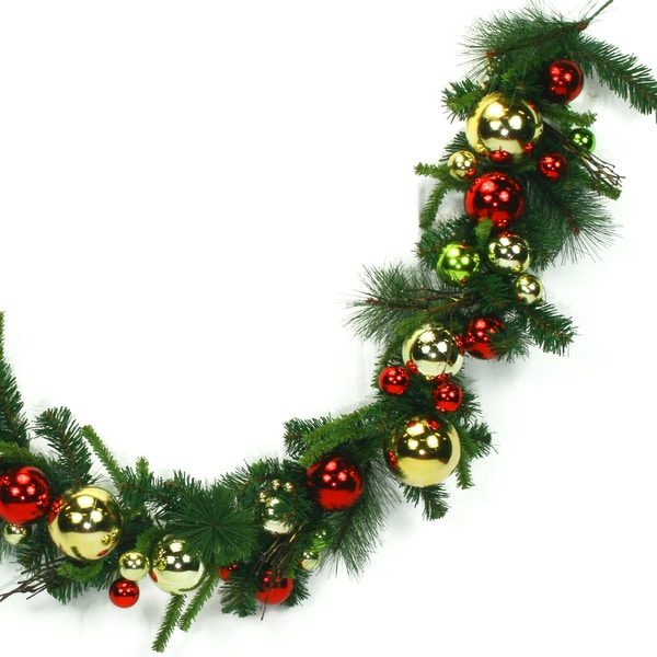 6-foot Gold Green Holiday Ornaments Garland