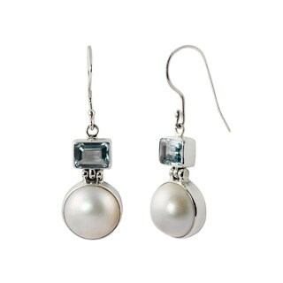 Sterling Silver Mabe Pearl and Gemstone Balinese Dangle Earrings