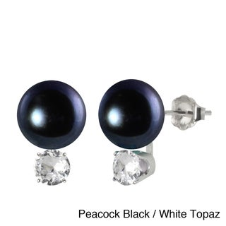 Sterling Silver Freswhater Cultured Round Pearl and Gemstone Earrings (10-10.5 mm)