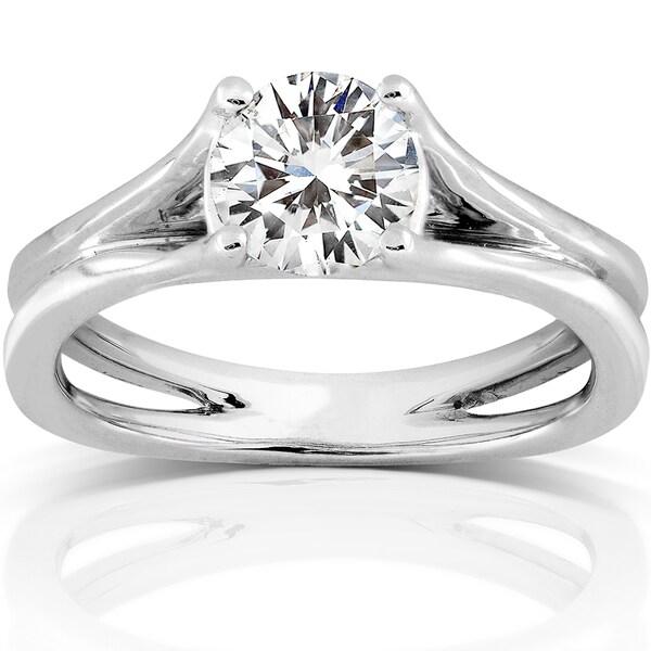 Annello by Kobelli 14k White Gold 1 1/2ct Moissanite Solitaire Engagement Ring
