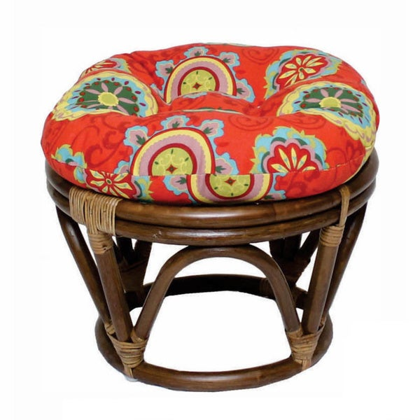 International Caravan Bali Rattan Papasan Ottoman with Outdoor Cushion