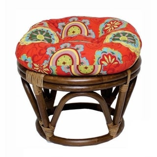 International Caravan Bali Rattan Papasan Foot Stool with Indoor/Outdoor Cushion