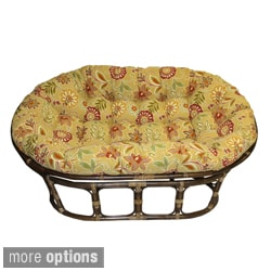International Caravan Bali Rattan Double Mamasan Chair with Tufted Indoor/Outdoor Cushion