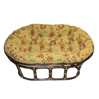 International Caravan Bali Rattan Double Papasan Chair with Indoor/Outdoor Cushion