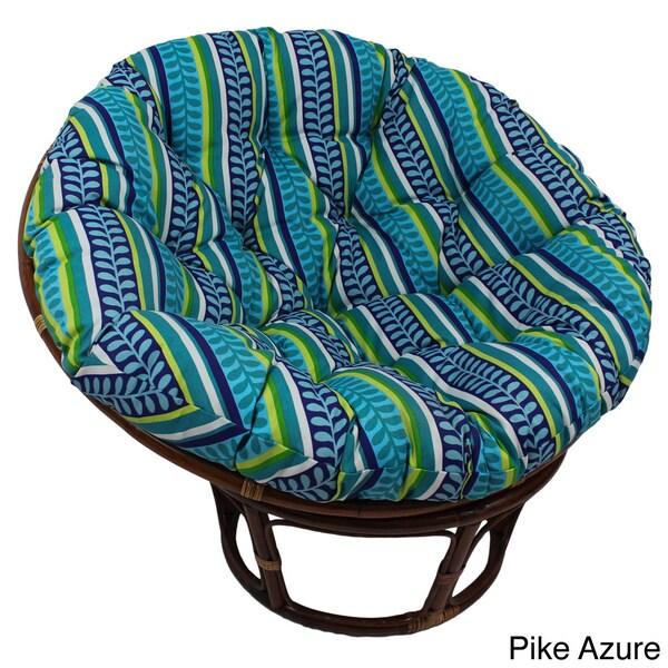 International Caravan Bali Print Outdoor Poly Fabric 42-inch Rattan Papasan Chair