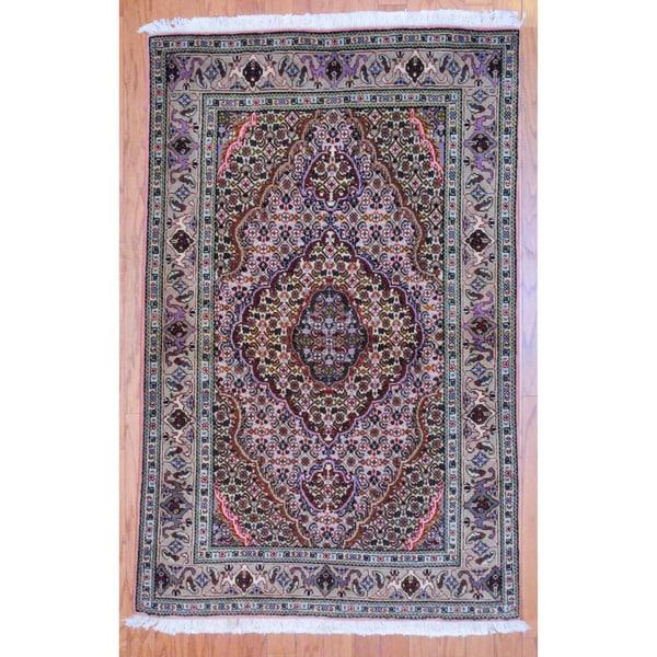 Persian Hand-knotted Tribal Tabriz Peach/ Beige Wool Rug (3'4 x 5'3)