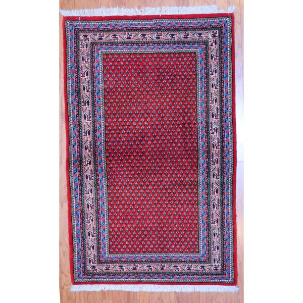 Persian Hand-knotted Tribal Mir Red/ Ivory Wool Rug (3'4 x 5'4)