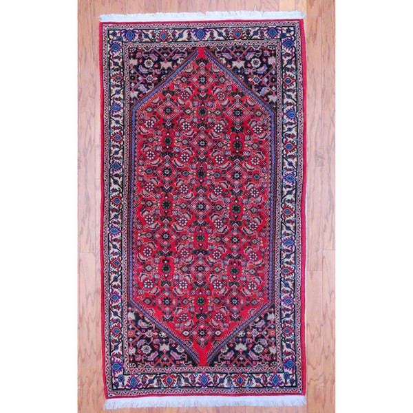 Persian Hand-knotted Tribal Bidjar Red/ Ivory Wool Rug (3'3 x 5'6)