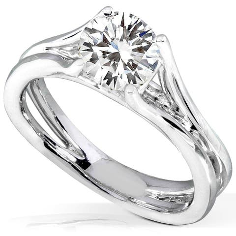 Annello by Kobelli 14k White Gold 1 7/8ct Near Colorless H-I Moissanite (8mm) Solitaire Engagement Ring