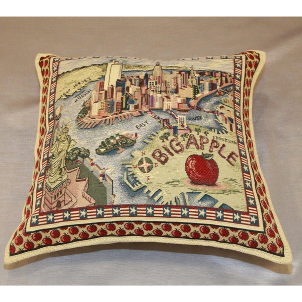 Authentic Turkish Big Apple New York Poly-filled 18x18-inch Accent Pillow