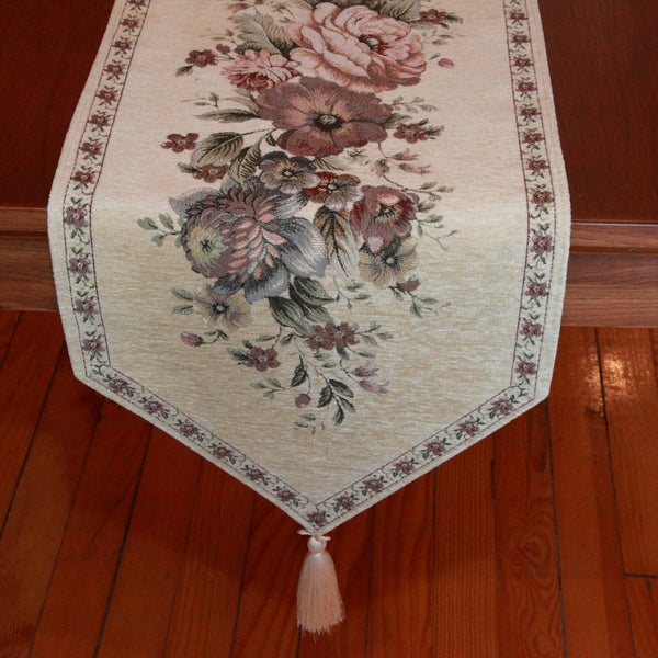 Authentic Turkish 70-inch Rectangular Beige Embroidered Floral Table Runner