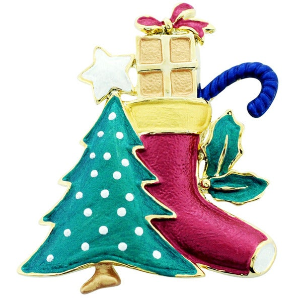 Goldtone Enameled Christmas Tree and Stocking Brooch