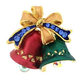 Goldtone Crystal Green and Red Christmas Bell Brooch