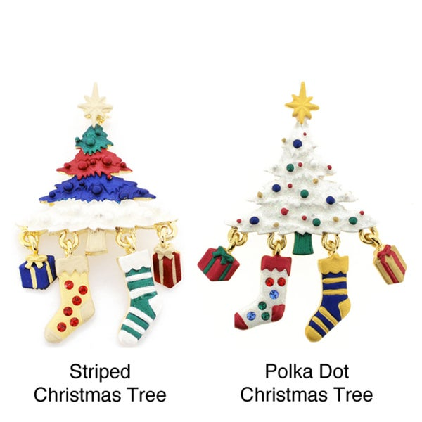 Goldtone Crystal Multi-colored Christmas Tree and Stocking Brooch