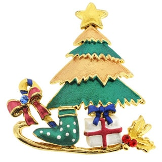 Goldtone Crystal Christmas Sleigh and Tree Brooch