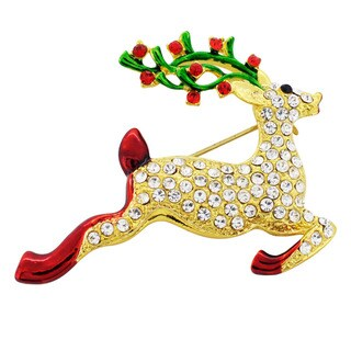 Goldtone Crystal Christmas Reindeer Brooch