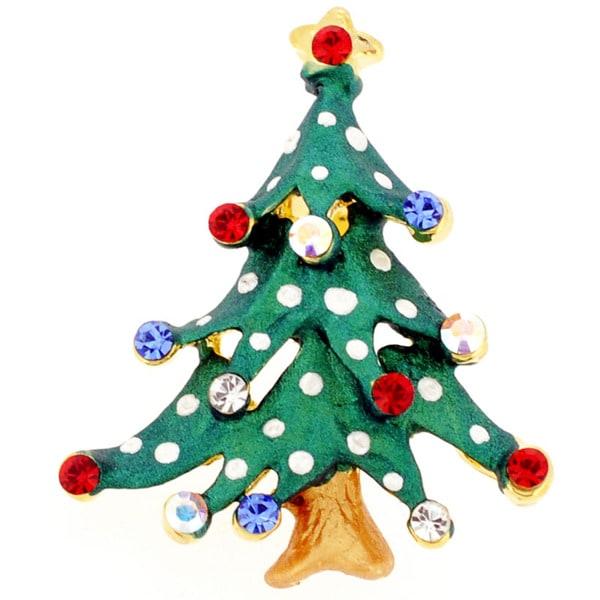 Goldtone Crystal Christmas Tree Brooch