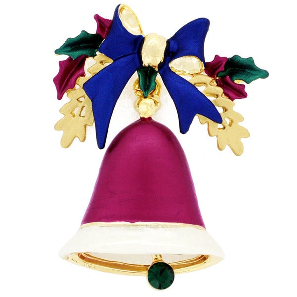 Goldtone Crystal Red Christmas Bell and Blue Bow Brooch