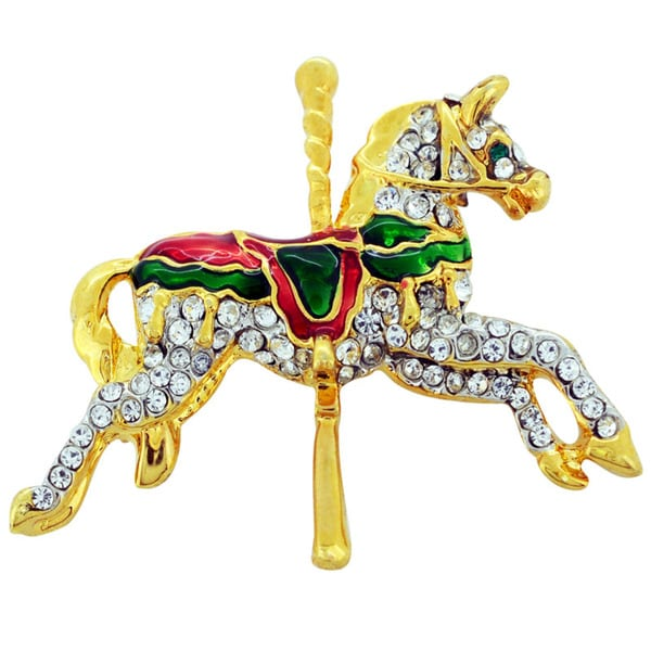 Goldtone Crystal Christmas Carrousel Horse Brooch