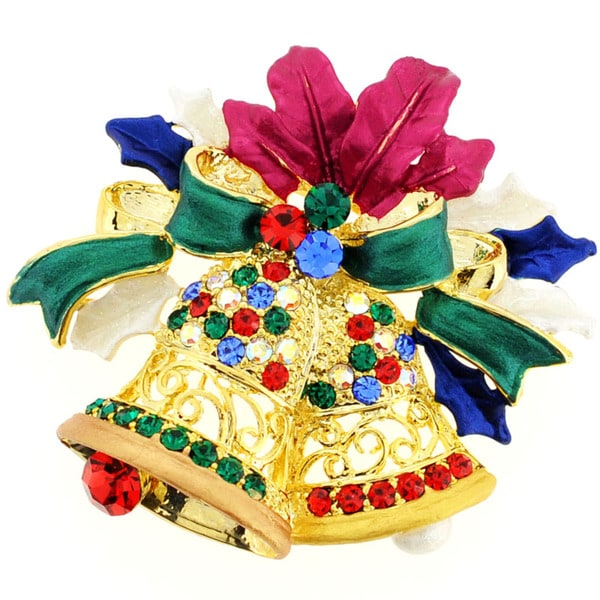 Goldtone Crystal Bell and Wreath Brooch