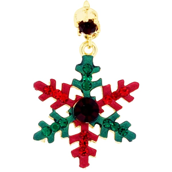 Goldtone Crystal Christmas Snowflake Tag Brooch