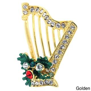 Silvertone Crystal Christmas Harp Brooch (Option: Yellow)