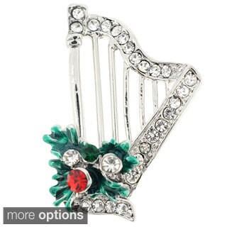 Silvertone Crystal Christmas Harp Brooch