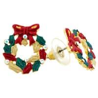 Goldtone Crystal Christmas Wreath Earrings