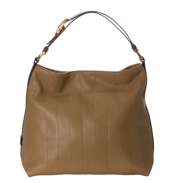 Fendi 'Pequin' Beige Tonal-stripe Leather Hobo Bag
