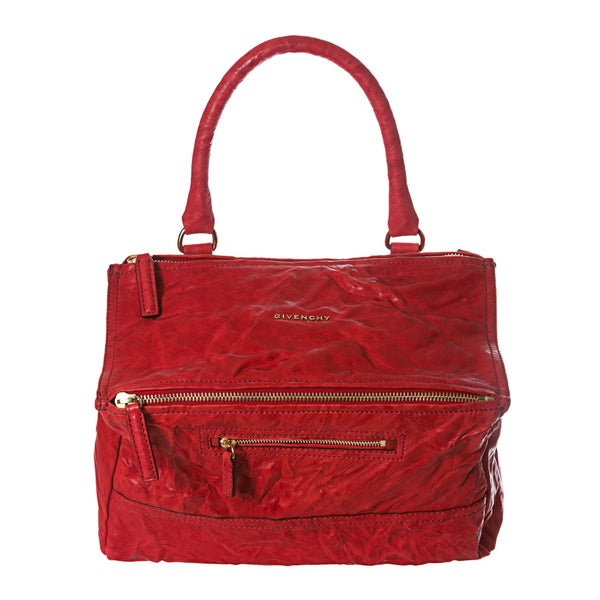 Givenchy 'Pepe Pandora' Medium Red Crinkle Leather Satchel