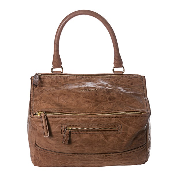 Givenchy 'Pepe Pandora' Medium Brown Crinkle Leather Satchel