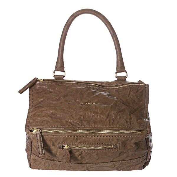 Givenchy 'Pepe Pandora' Medium Tan Crinkle Leather Satchel