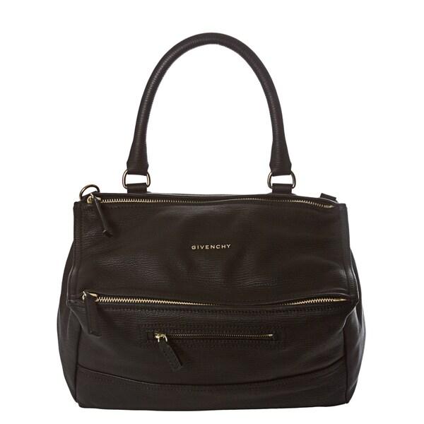 Givenchy 'Pandora' Medium Black Textured Leather Satchel