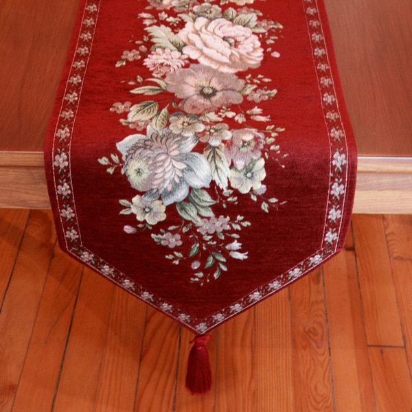 Authentic Turkish 70-inch Rectangular Burgundy Embroidered Floral Table Runner