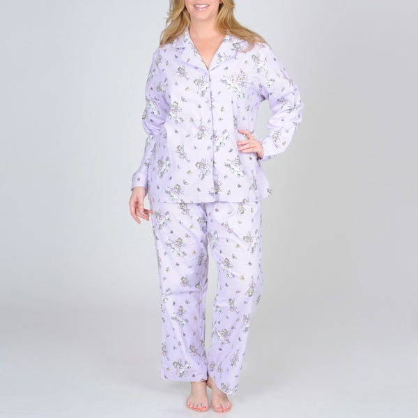 La Cera Women's Plus Size Lilac Fairy Print Flannel Pajama Set ...