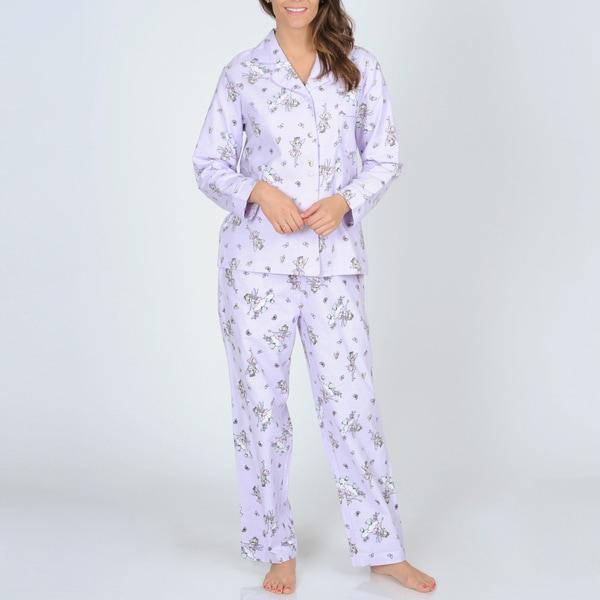La Cera Women's Lilac Fairy Print Flannel Pajama Set