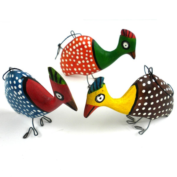 Handmade Holiday Ornament Set of Three Guinea Fowl (Mozambique)