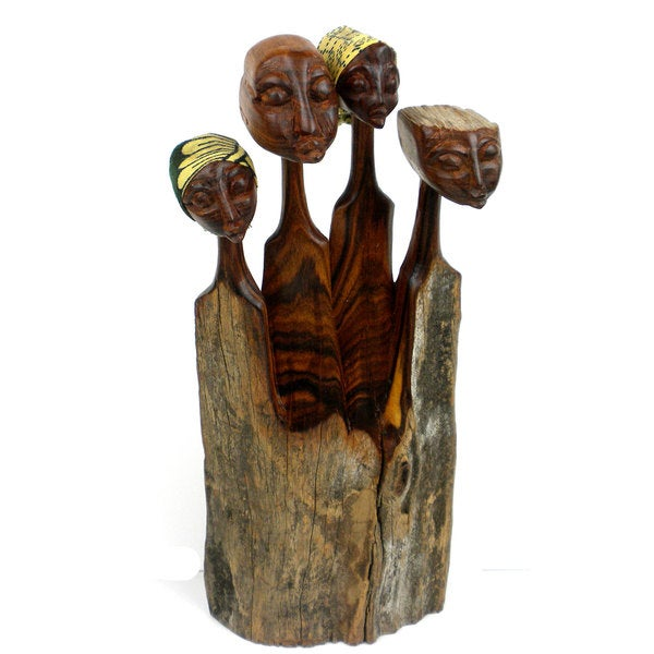 Handcrafted Sandalwood Family Sculpture (Mozambique)