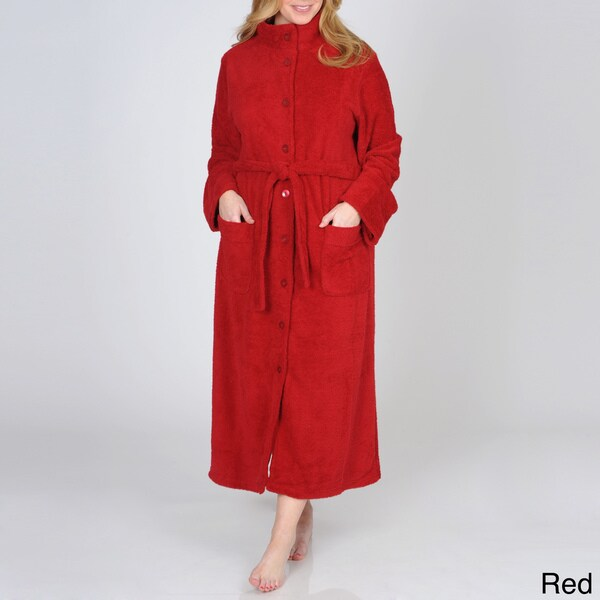 La Cera Women's Plus Size Button-front Fleece Robe