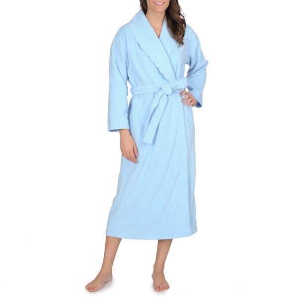 La Cera Women's Snowflake Embroidered Fleece Wrap Robe