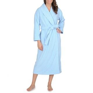 La Cera Women's Snowflake Embroidered Fleece Wrap Robe