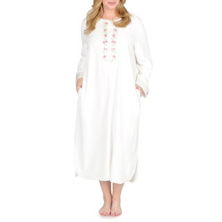 La Cera Women's Plus Size Ivory Floral Embroidered Yoke Lounger
