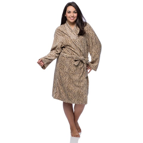 La Cera Women's Plus Size Cheetah Print Fleece Robe