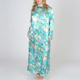 La Cera Women's Plus Size Teal Floral Print Zip-front Robe|https://ak1.ostkcdn.com/images/products/7521968/7521968/La-Cera-Womens-Plus-Size-Teal-Floral-Print-Zip-front-Robe-P14960004.jpeg?impolicy=medium